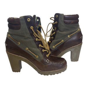 Sperry Topsider Trinity Lace-Up Heeled Boots Brn